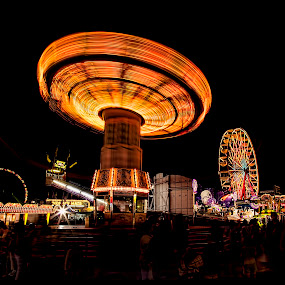 Swining' at the fair by Deborah Felmey - City,  Street & Park  Night ( lights, rides, night, swing, state fair,  )