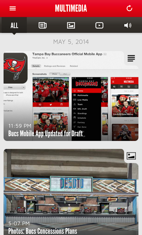 Tampa Bay Buccaneers Mobile- screenshot