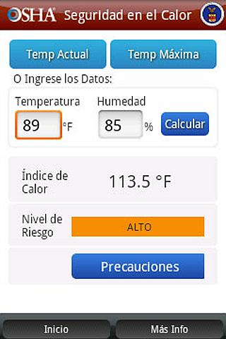OSHA Heat Safety Tool-Spanish- screenshot