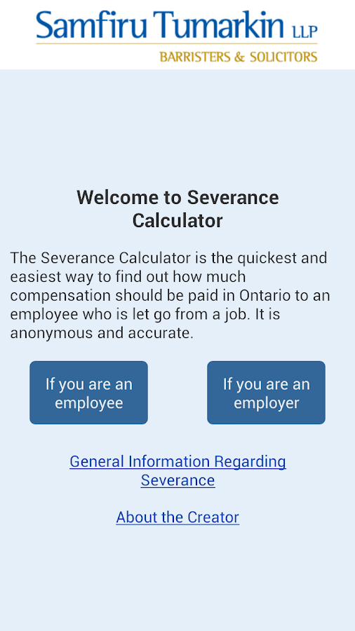 Severance Calculator- screenshot