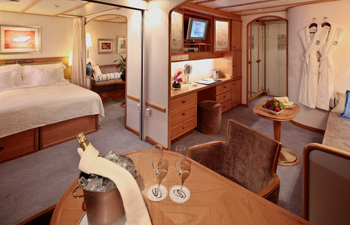 Commodore-Suite-SeaDream - At 390 square feet, the Commodore Suite on your SeaDream cruise features his and hers bathrooms and a dining area for four.