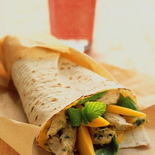 Chicken Wraps With Mango, Basil, and Mint.