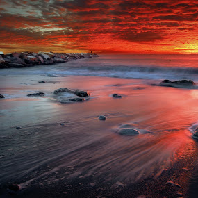 THE BRUSH OF GOD by Paolo Lazzarotti - Landscapes Sunsets & Sunrises ( red clouds, reef, waves, vivid colors, seascape, fisherman, epic sunset,  )