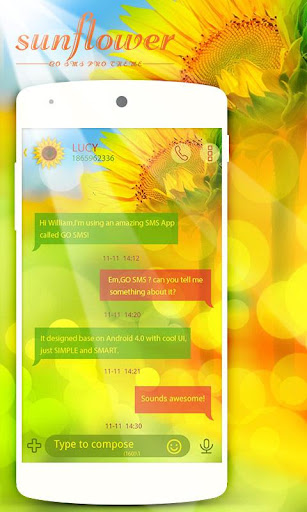 GO SMS PRO SUNFLOWER THEME