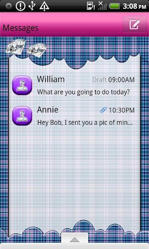 GO SMS THEME BlePldDmndClud