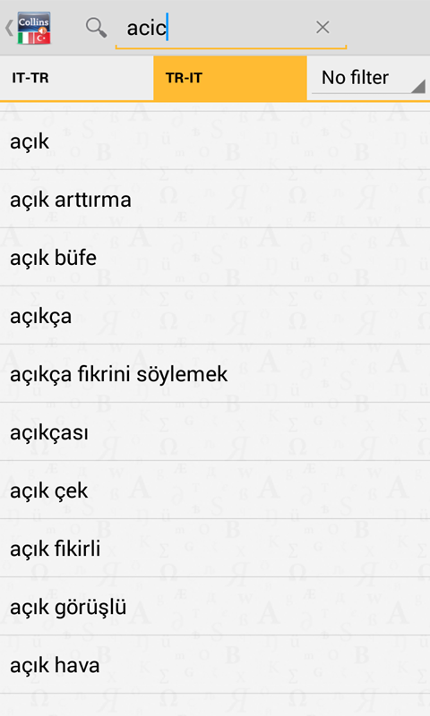 Italian<>Turkish Gem Dictionar- screenshot