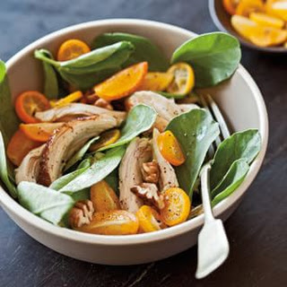 Fava Greens with Chicken, Pecans and Kumquats.