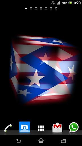 3D Puerto Rico Cube Flag LWP