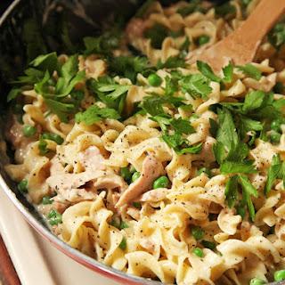 Easy One-Pot, No-Knife, Lighter Tuna Noodle Casserole.