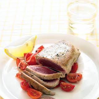 Tuna Steaks with Lemony Tomatoes and Onion.