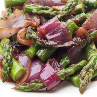 Grilled Asparagus & Red Onions with Olive Oil and Balsamic Vinegar.