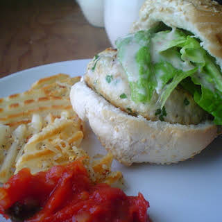 Chicken Burgers with Baked Potatoes.
