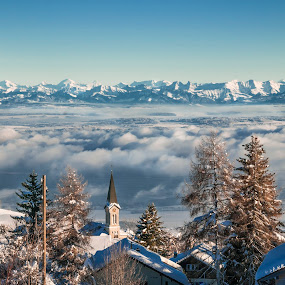 The Alps seen from Chasseron by Christian Diboky - Landscapes Mountains & Hills ( clouds, vaud, winter, church, village, fog, snow, switzerland, trees, panorama, alps, chasseron, , cold )