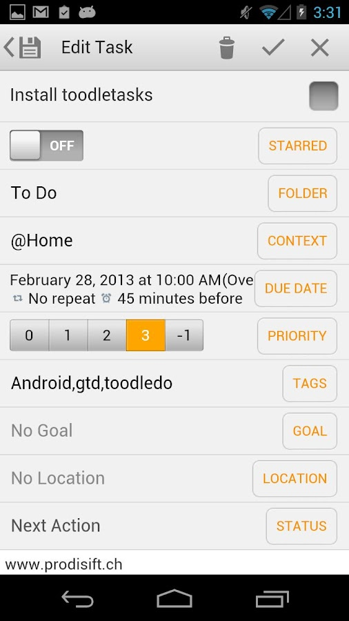 toodleTasks PE for Toodledo- screenshot