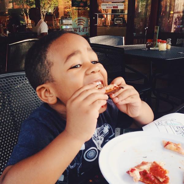 CJ eats pizza!