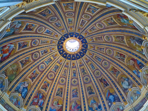painted-dome-st-peters-vatican-city - The interior cupola of St. Peter's Basilica Dome in Vatican City.