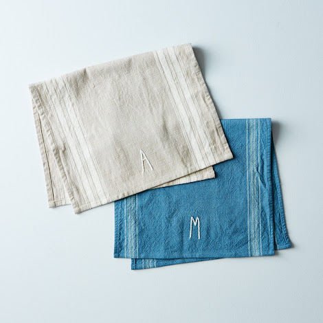 Monogrammed Hand-Embroidered Tea Towel