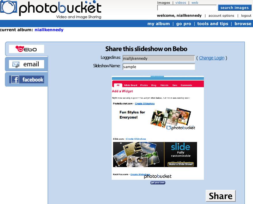 Photobucket share on Bebo