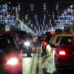 S-au aprins luminile de Crăciun | Christmas lights are on by Matei Edu - Instagram & Mobile iPhone ( bucharest, ig_romania, blue, colors, canon, eos, amazing, night, november, boulevard, photography, cars, traffic, mylifeinbucharest, visit_romania, visit_bucharest, autumn, winter, holidays, infinity, xmas )