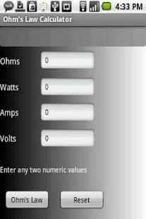 Ohm's Law Calculator- screenshot thumbnail