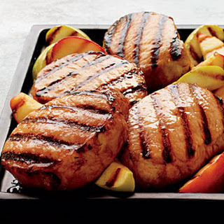 Cider-Brined Pork Chops with Grilled Apples.