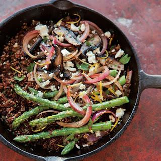 Red Quinoa with Asparagus, Portobellos and Feta