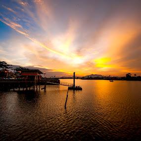 Golden & Blue Hour by Ismail Rali - Uncategorized All Uncategorized ( blue, sunset, beautiful, sunrise, jetty, landscape, wharf, skies, river )