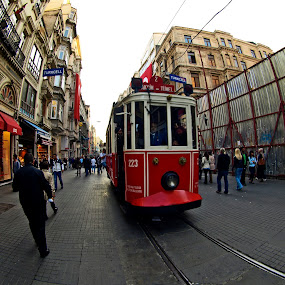 istiklal ca. Istanbul TURKEY by Ahmet Güler - City,  Street & Park  Street Scenes ( istiklal ca. istanbul turkey, red, white, pwc87, , land, device, transportation, Urban, City, Lifestyle )