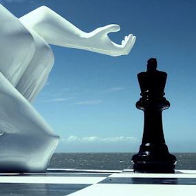 Check Mate by Diane Hallam - Artistic Objects Still Life ( person, still life, chess, landscape, king, check mate,  )