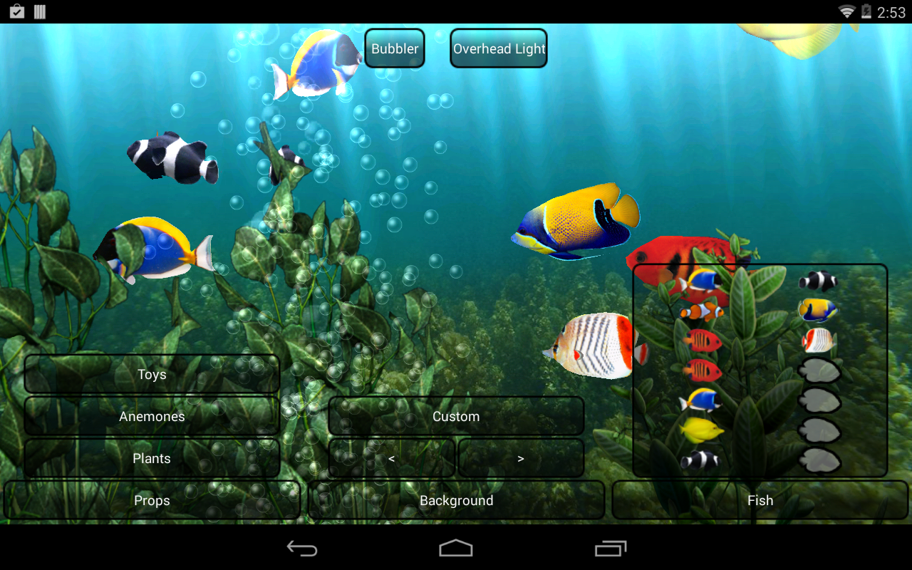 Fond gratuit anim aquarium applications android sur for Fond ecran aquarium