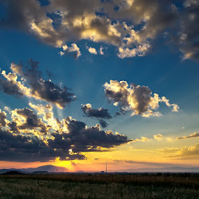 Sunset by Ionut Stoica - Instagram & Mobile Android ( clouds, field, blue, green, sunset, horizon, summer, samsung galaxy s4 zoom, light, evening, sun )