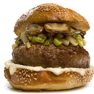 Bison Burger with Mushrooms and Spring Onions