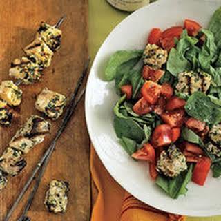 Swordfish Kebabs with Tomato-Arugula Salad.
