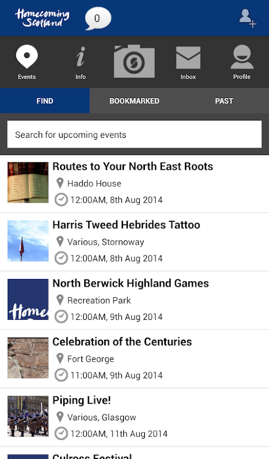 VisitScotland Events Guide - screenshot