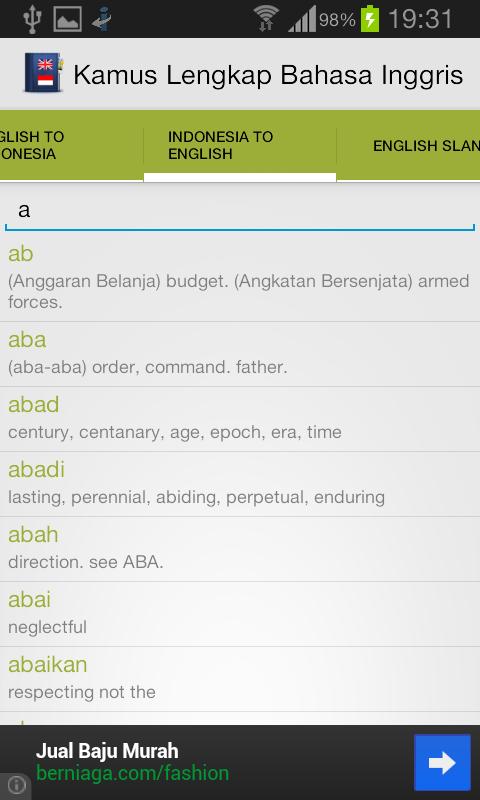 Kamus Inggris Indonesia - screenshot