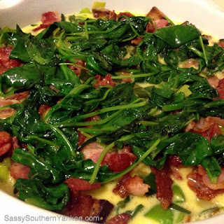 Bacon, Leek, Spinach and Swiss Quiche.