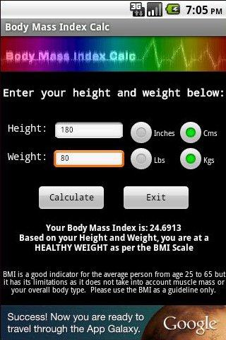 Body Mass Index Calc - screenshot