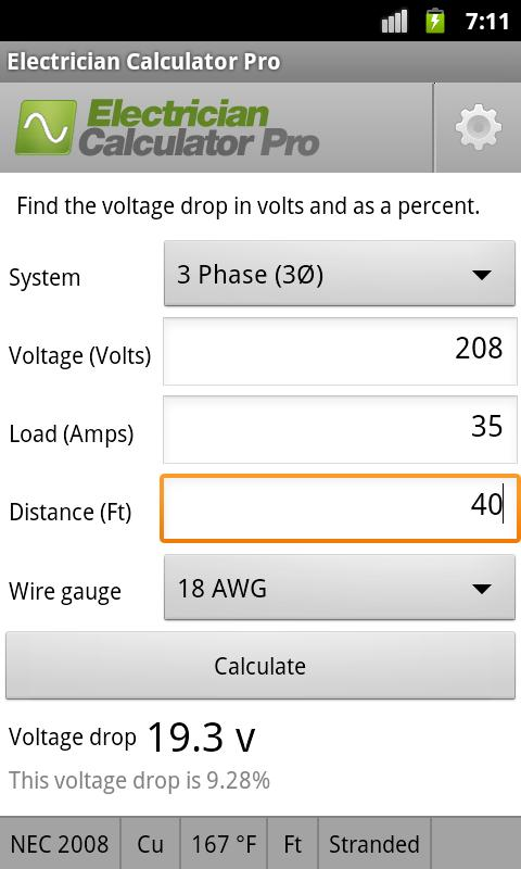 Electrician Calculator Pro - screenshot