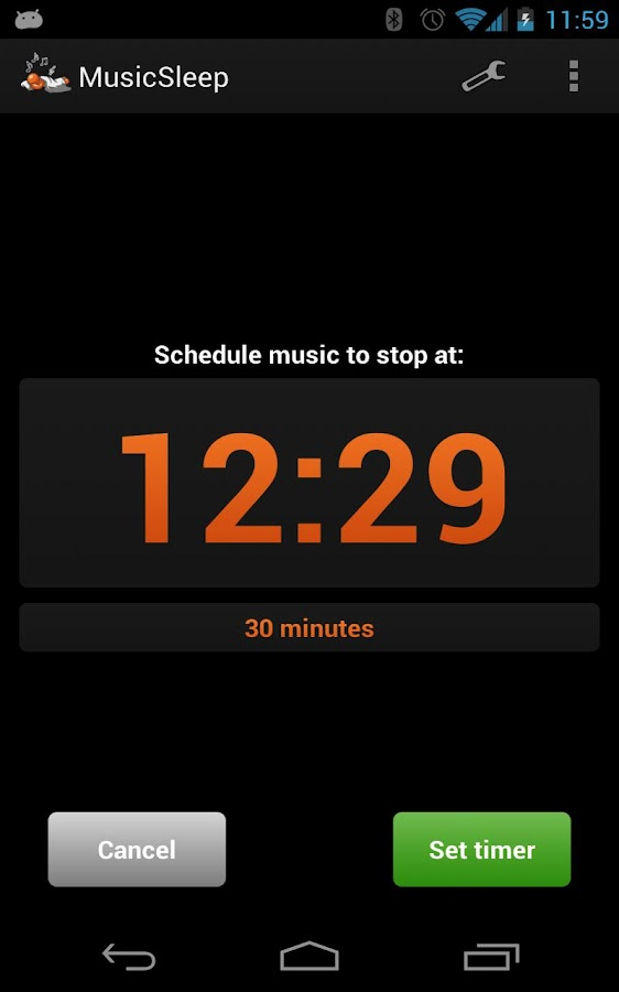MusicSleep (sleep timer)- screenshot