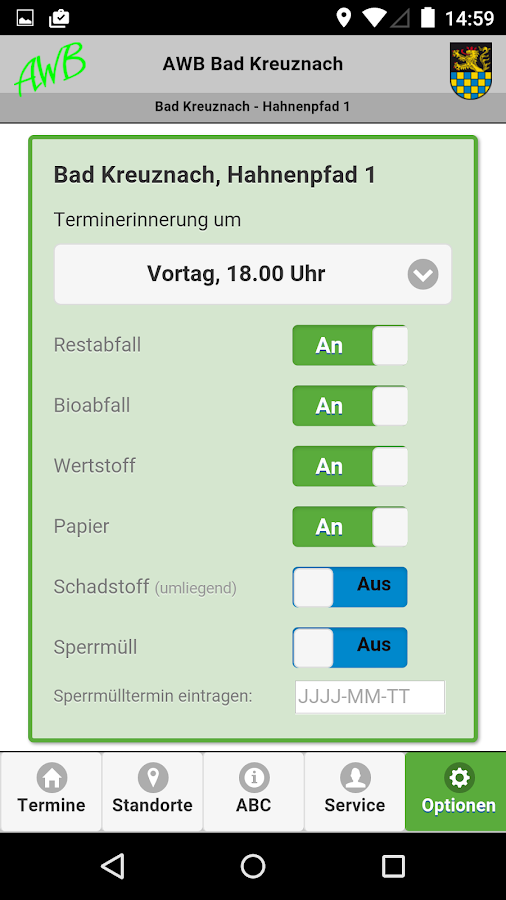 AWB Müll App Bad Kreuznach - screenshot