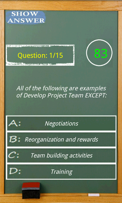 PMP exam game simulator - screenshot