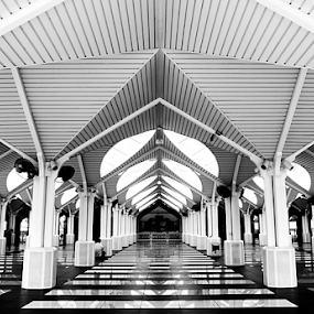 Inside Out by Mohd Shahrizan Taib - Buildings & Architecture Places of Worship ( religion, klcc, masjid, mosque, islamic, outdoor, black&white, olympus )