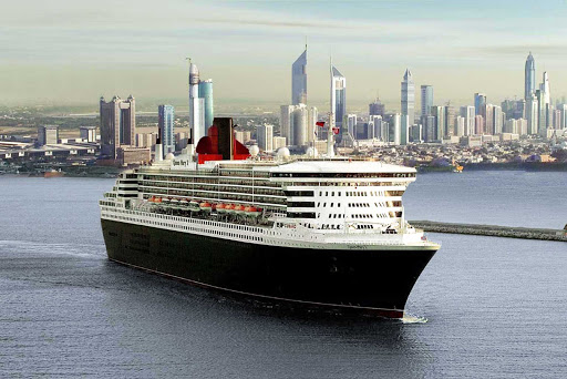 Cunard-Queen-Mary-2-in-Dubai - Take in the impressive skyline of Dubai, the United Arab Emirates' largest city, on a cruise aboard Queen Mary 2.