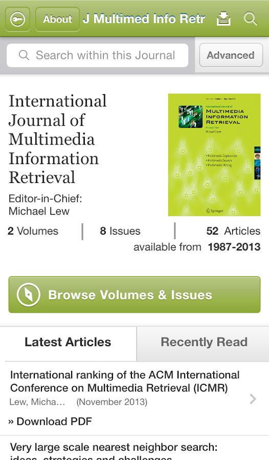 J Multimedia Information Retr- screenshot