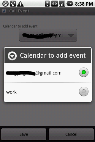 Call Event- screenshot