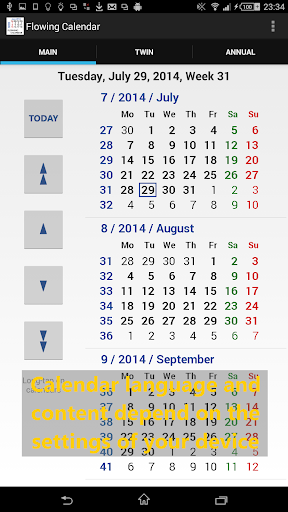 Flowing Calendar