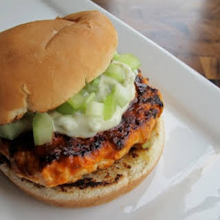 Spicy Buffalo Chicken Burgers.