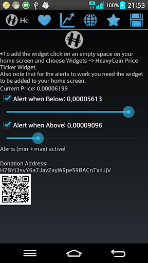 HeavyCoin Price Widget HVC
