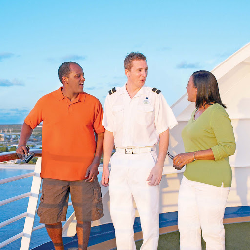 On board Emerald Princess, officers and crew often shoot the breeze with guests.