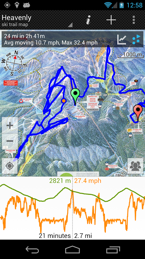GPS on ski map - screenshot
